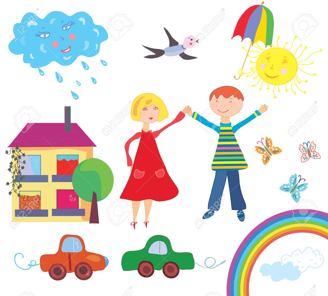 Children set with objects and nature Stock Vector - 13857024