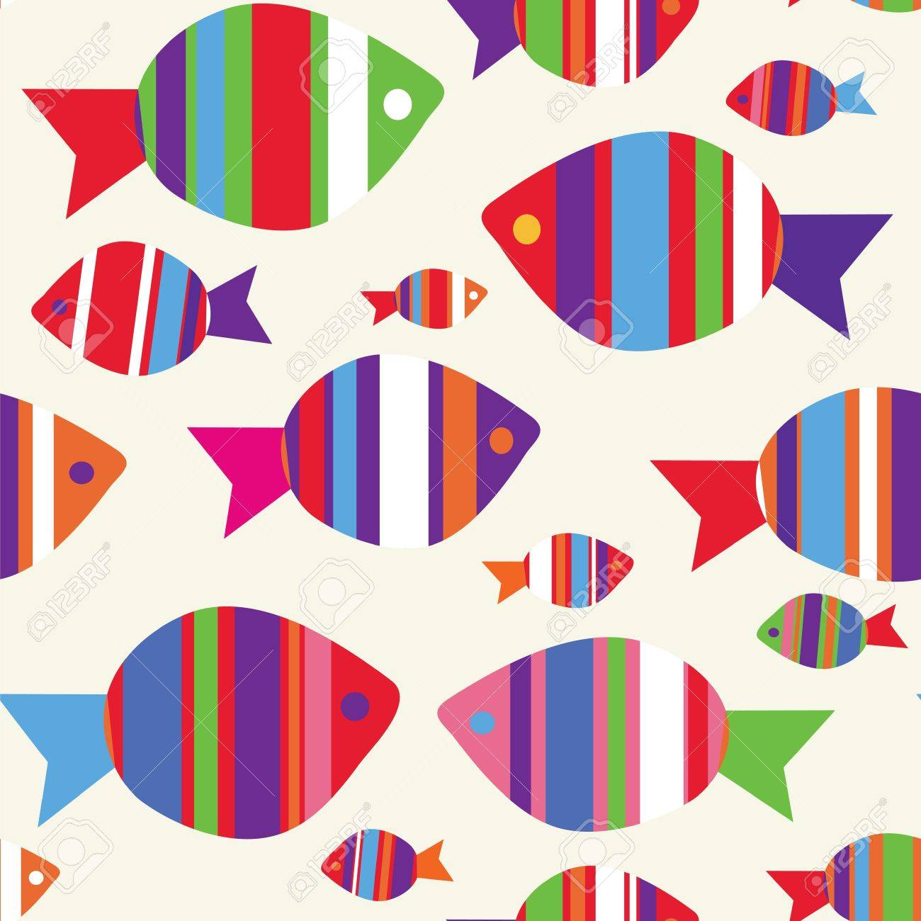 Fishes seamless funny pattern for kids - 14098965