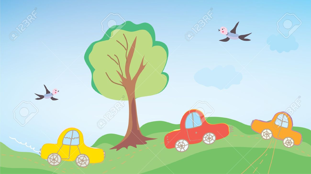 Funny cars for children outdoor cartoon - 14583744