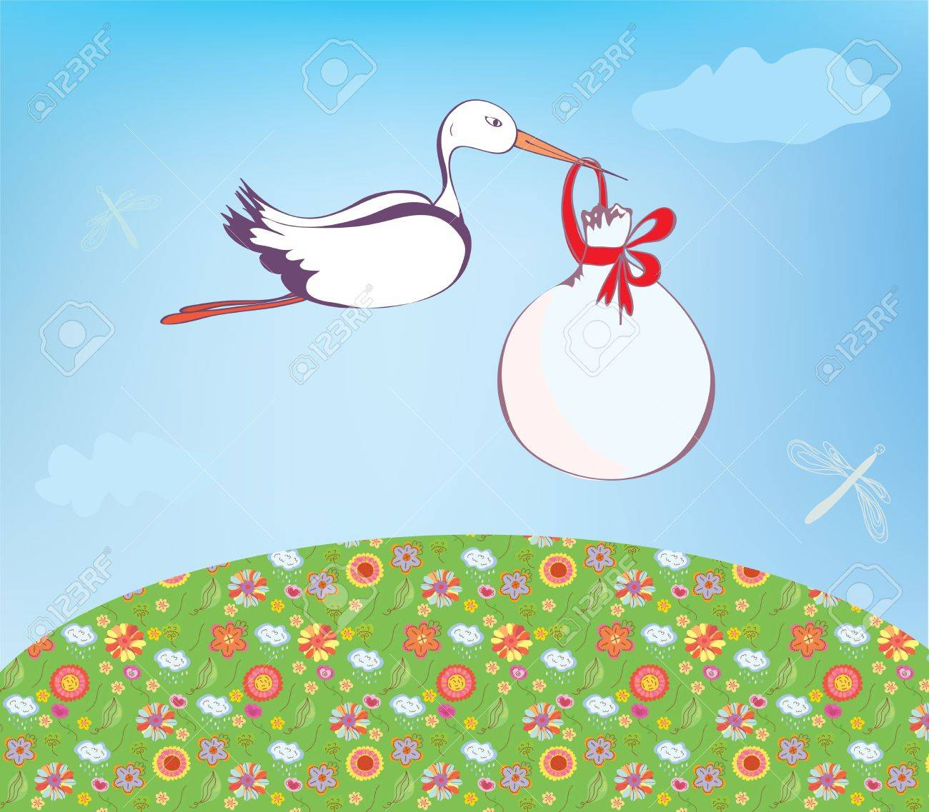 Stork and baby  outdoor greeting card Stock Vector - 14583758