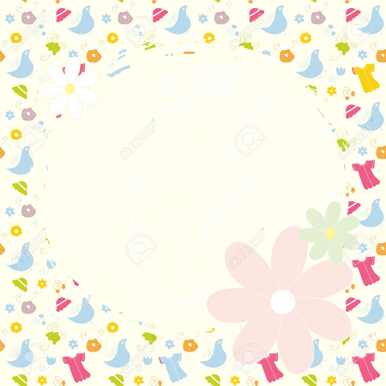 Baby cute background with dresses, birds and flowers Stock Vector - 14762193