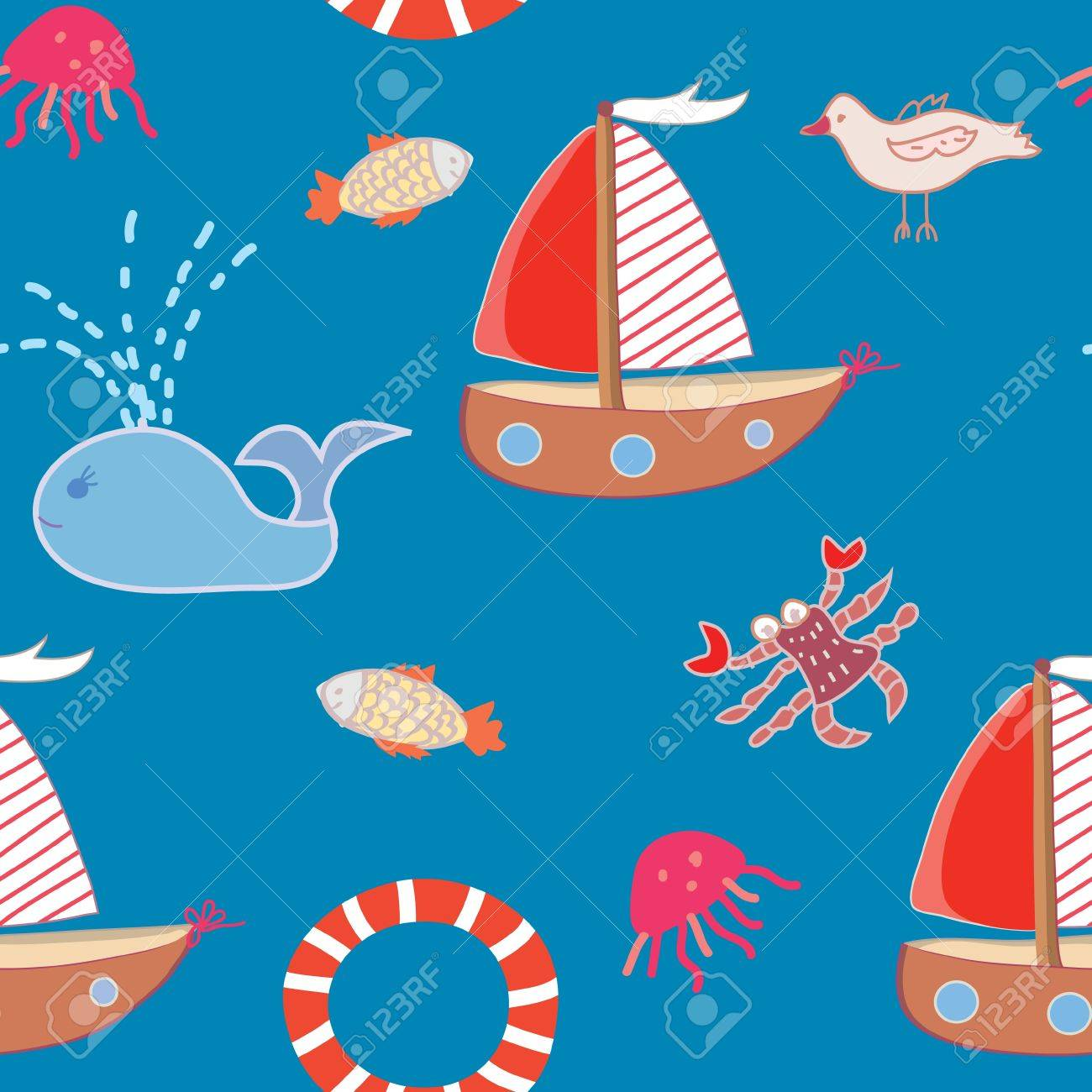 seamless pattern with boats and sea animals for kids royalty free