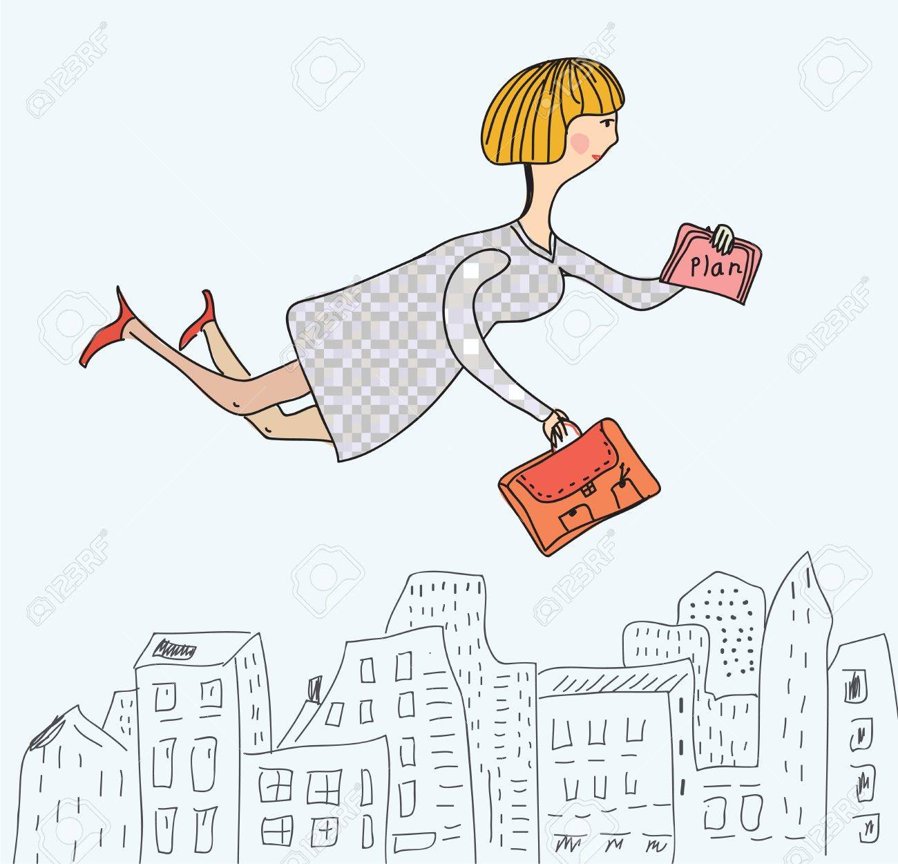 Business woman flying to work funny cartoon - 15033483