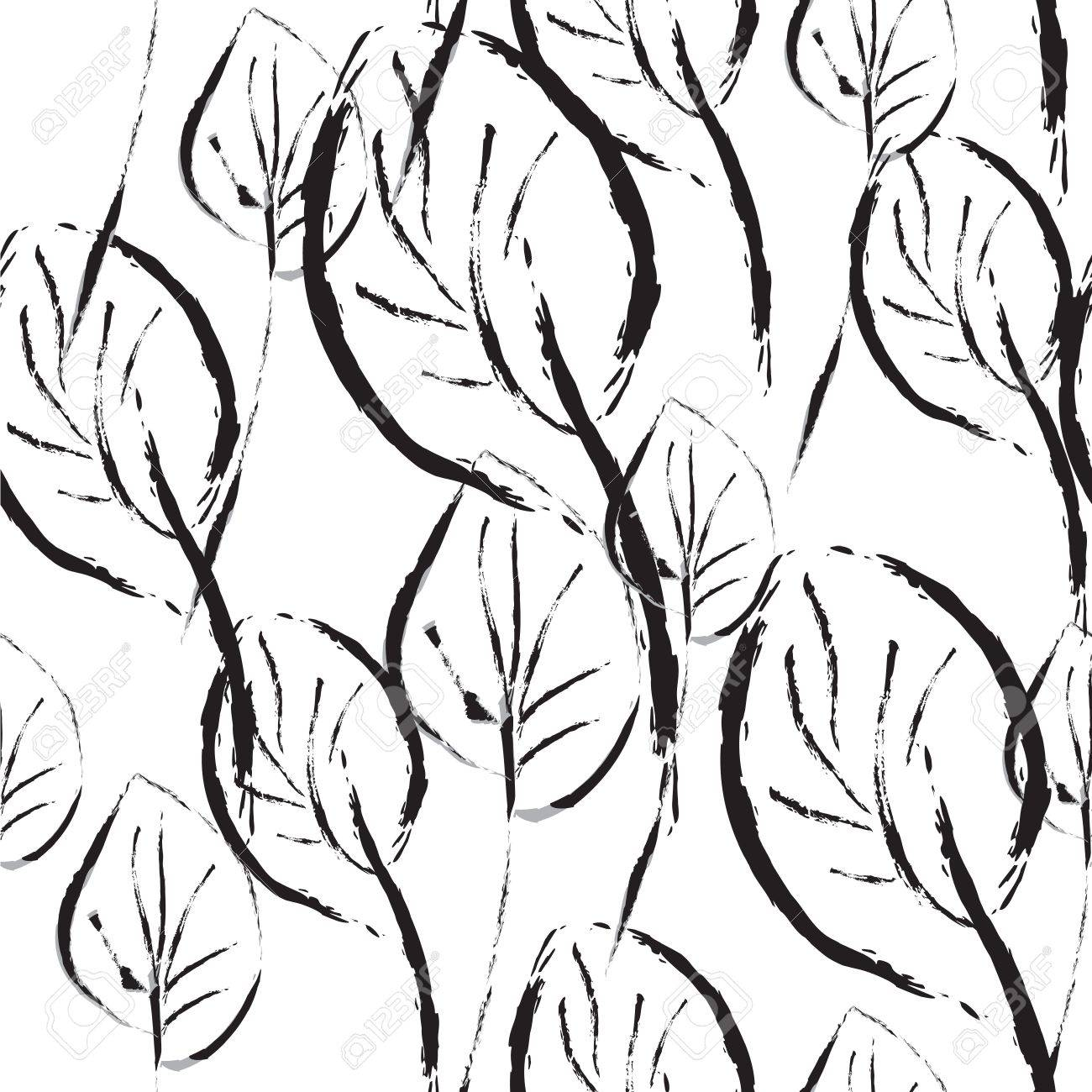 Black and white leaves seamless pattern graphic - 15158993