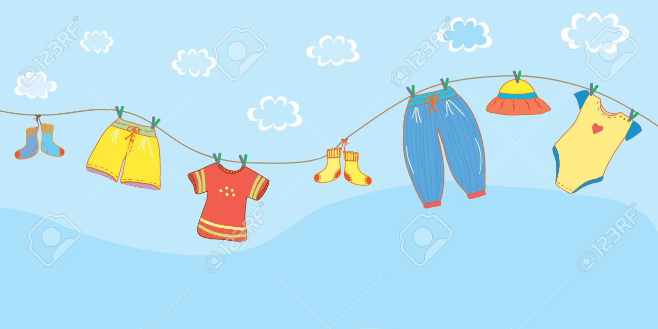Baby clothes banner in the sky cartoon - 15480033