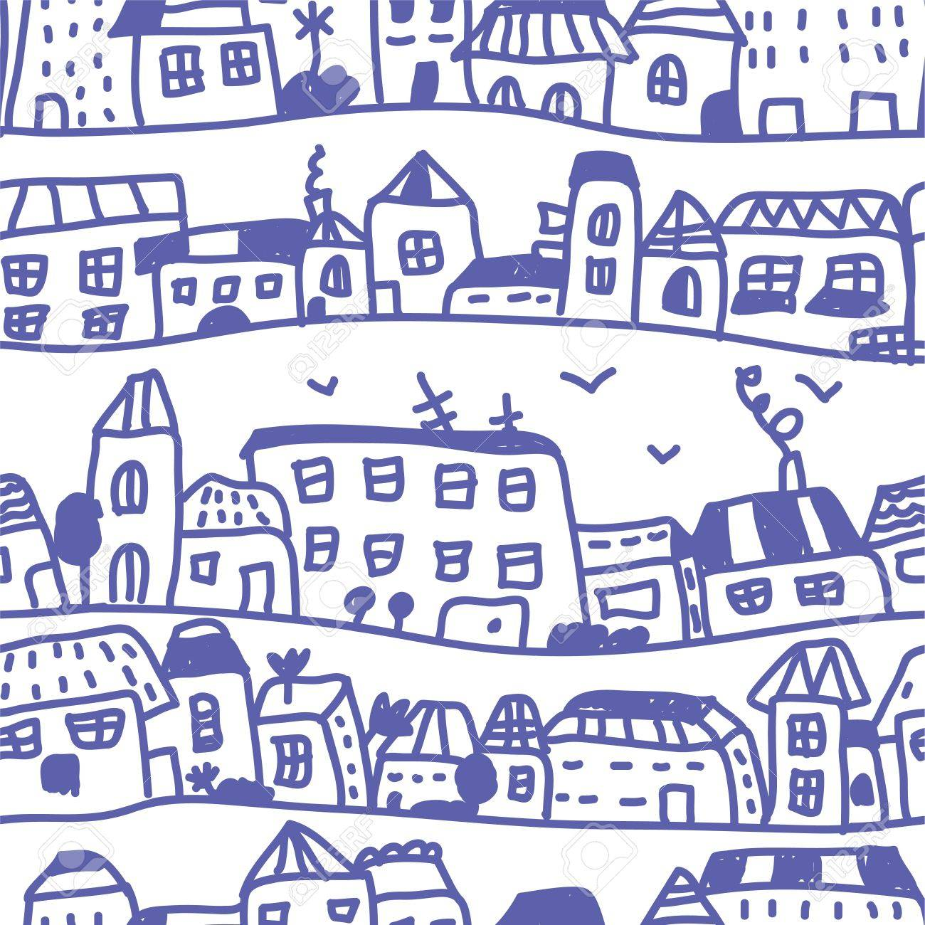 Houses seamless pattern doodle design - 15567275