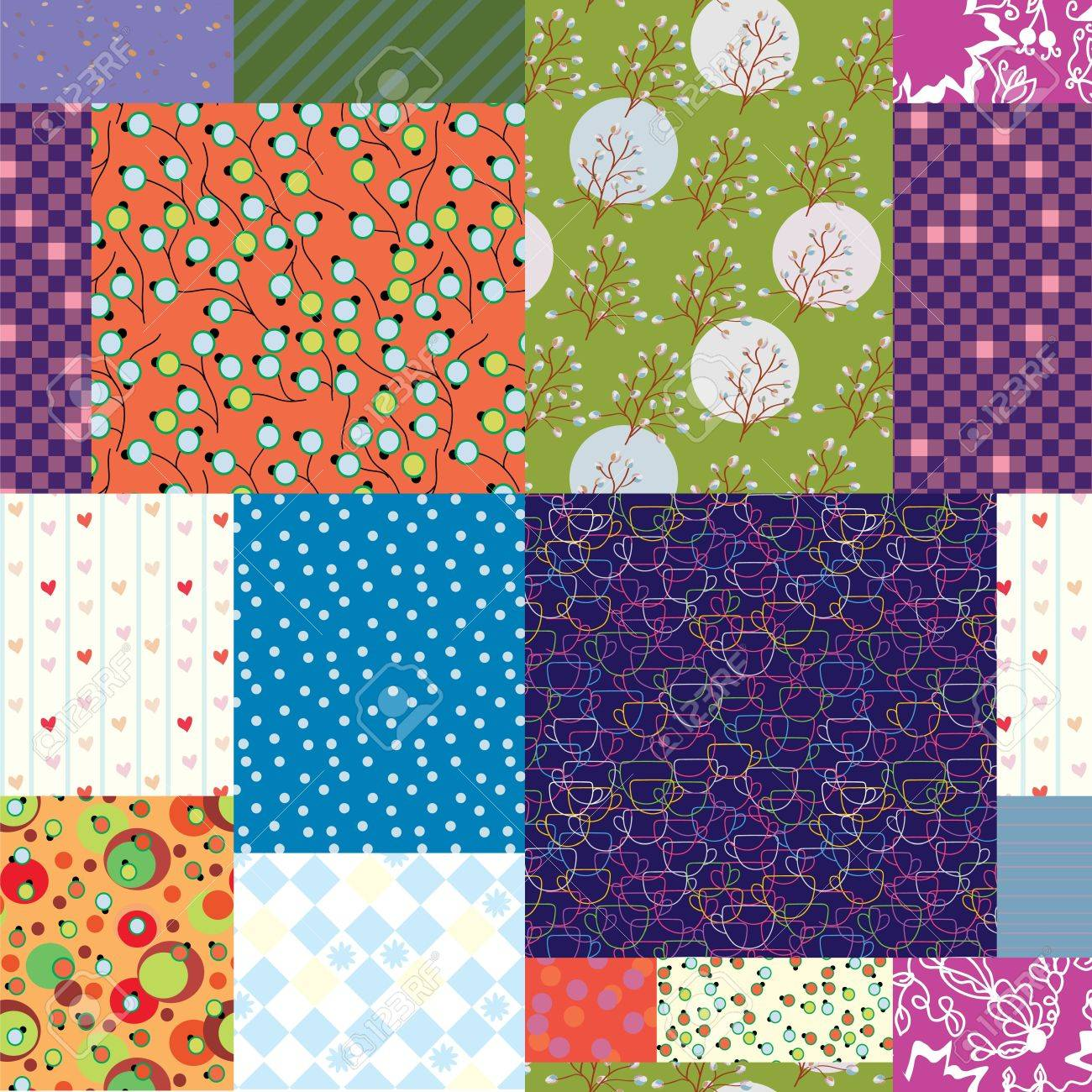 Seamless quilt pattern - floral fabrics design Stock Vector - 15656342