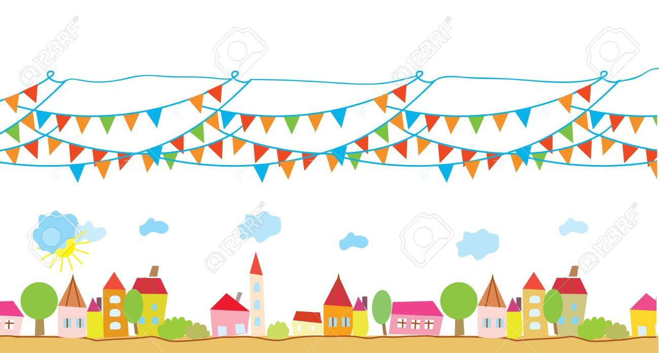 Funny house and flags background for children Stock Vector - 15782712
