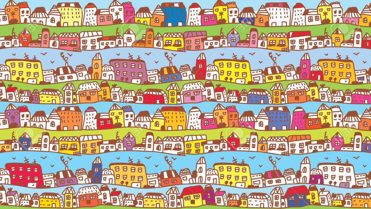 Houses in the town funny background for kids - 15968360