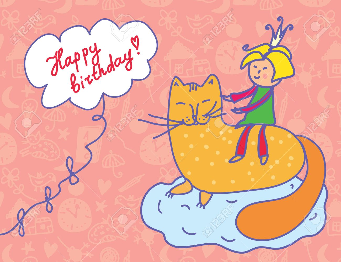 Happy Birthday Card With Child And Cat Funny Stock Vector