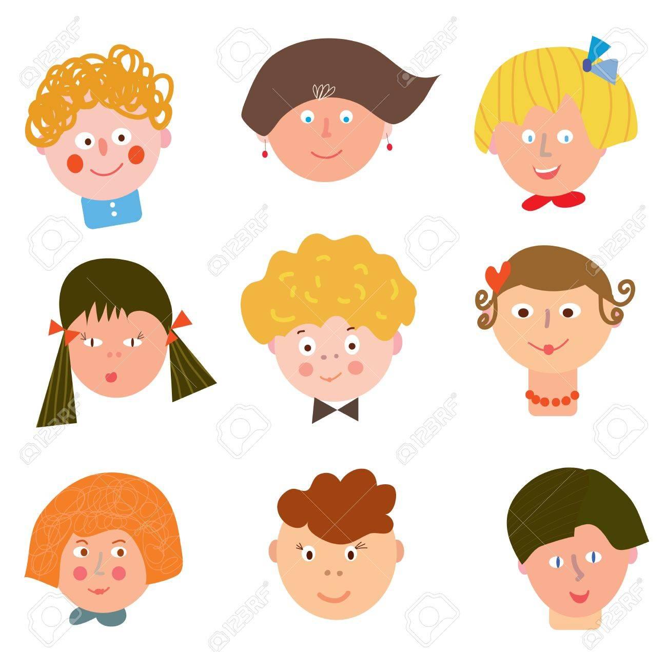 children funny faces set cartoons royalty free cliparts vectors