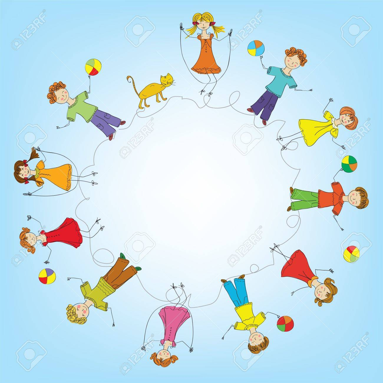 Children in a circle frame Stock Vector - 16456587