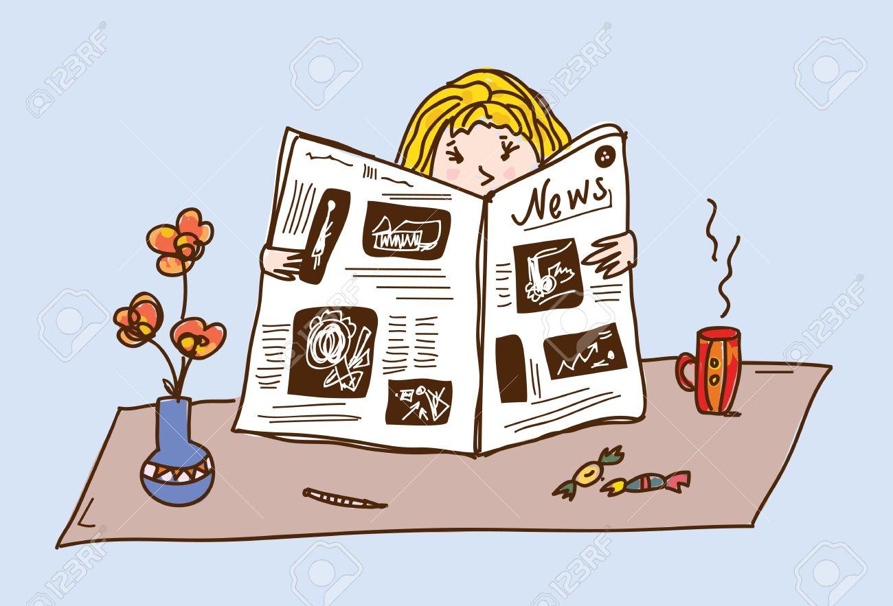 Girl reading newspaper at the tea table cartoon Stock Vector - 16456581