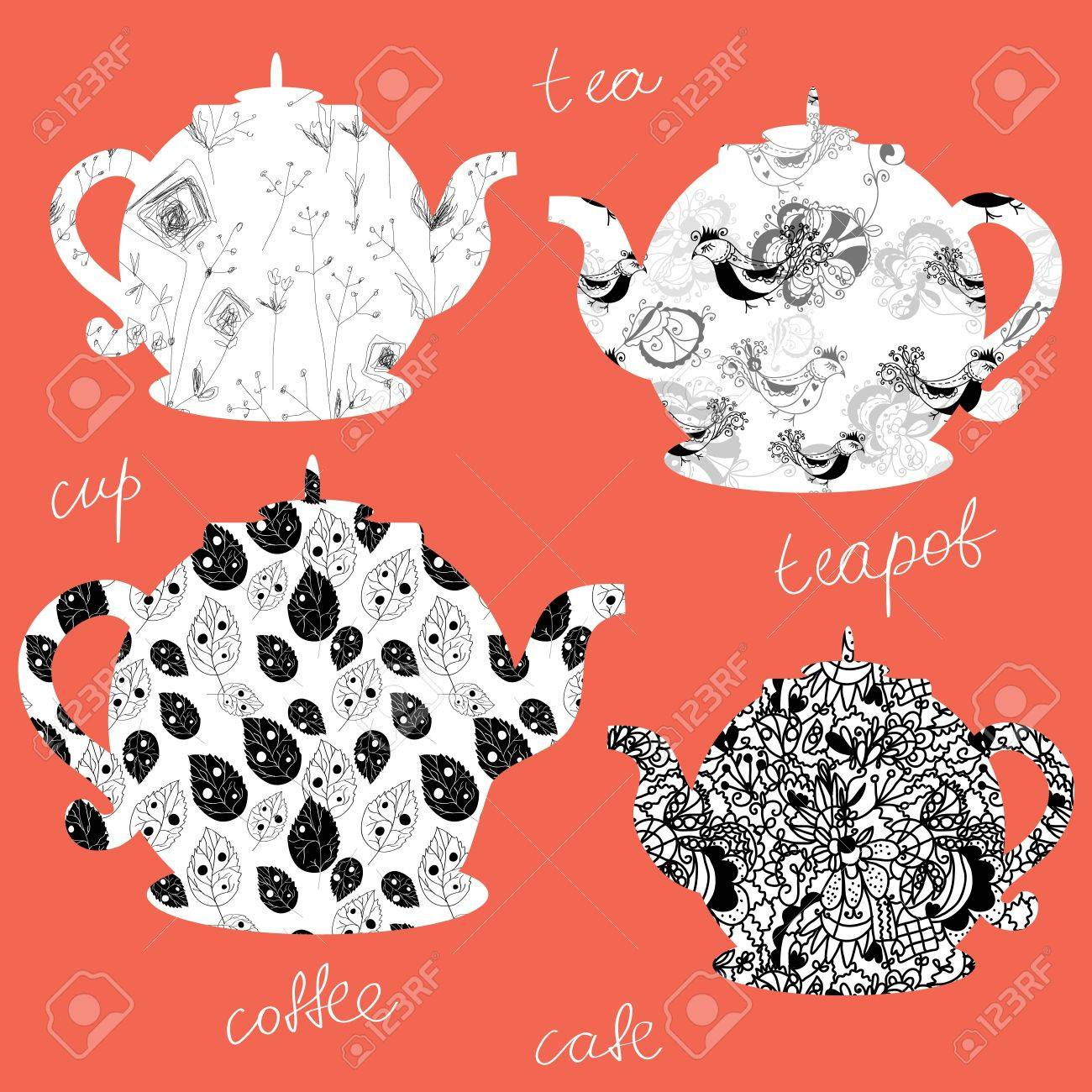 Teapots icons with floral patterns set Stock Vector - 16456594