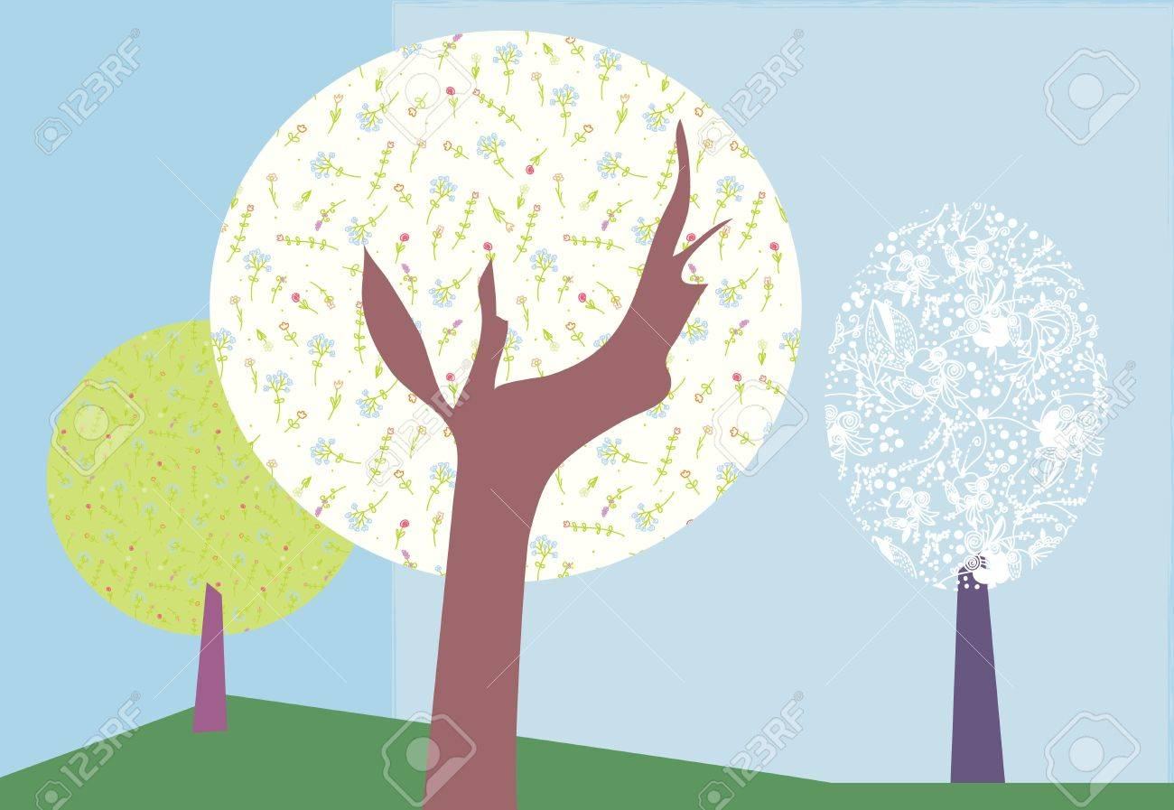 Abstract trees backround for card Stock Vector - 16456595