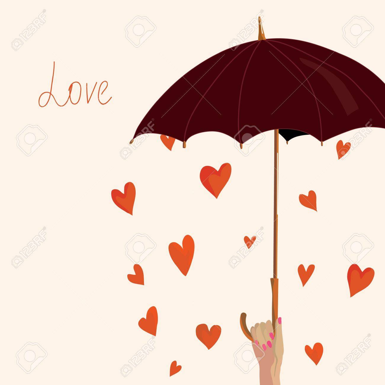 Valentine card with hearts and umbrella - 16824431