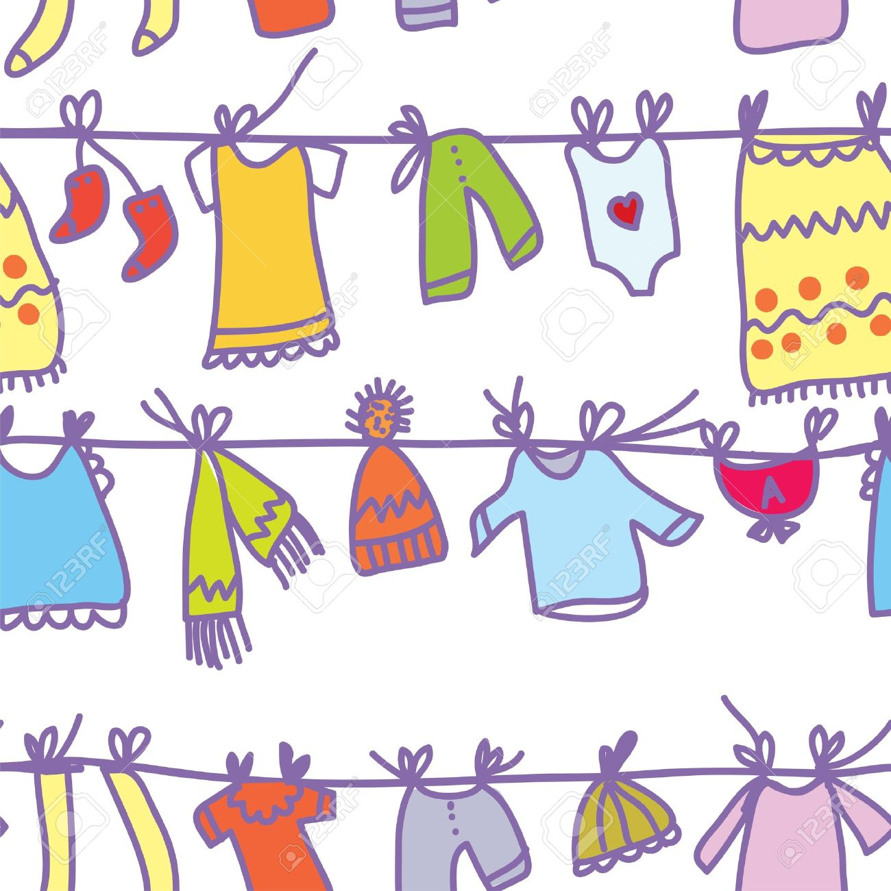 Baby clothes set seamless pattern - funny design - 16824435