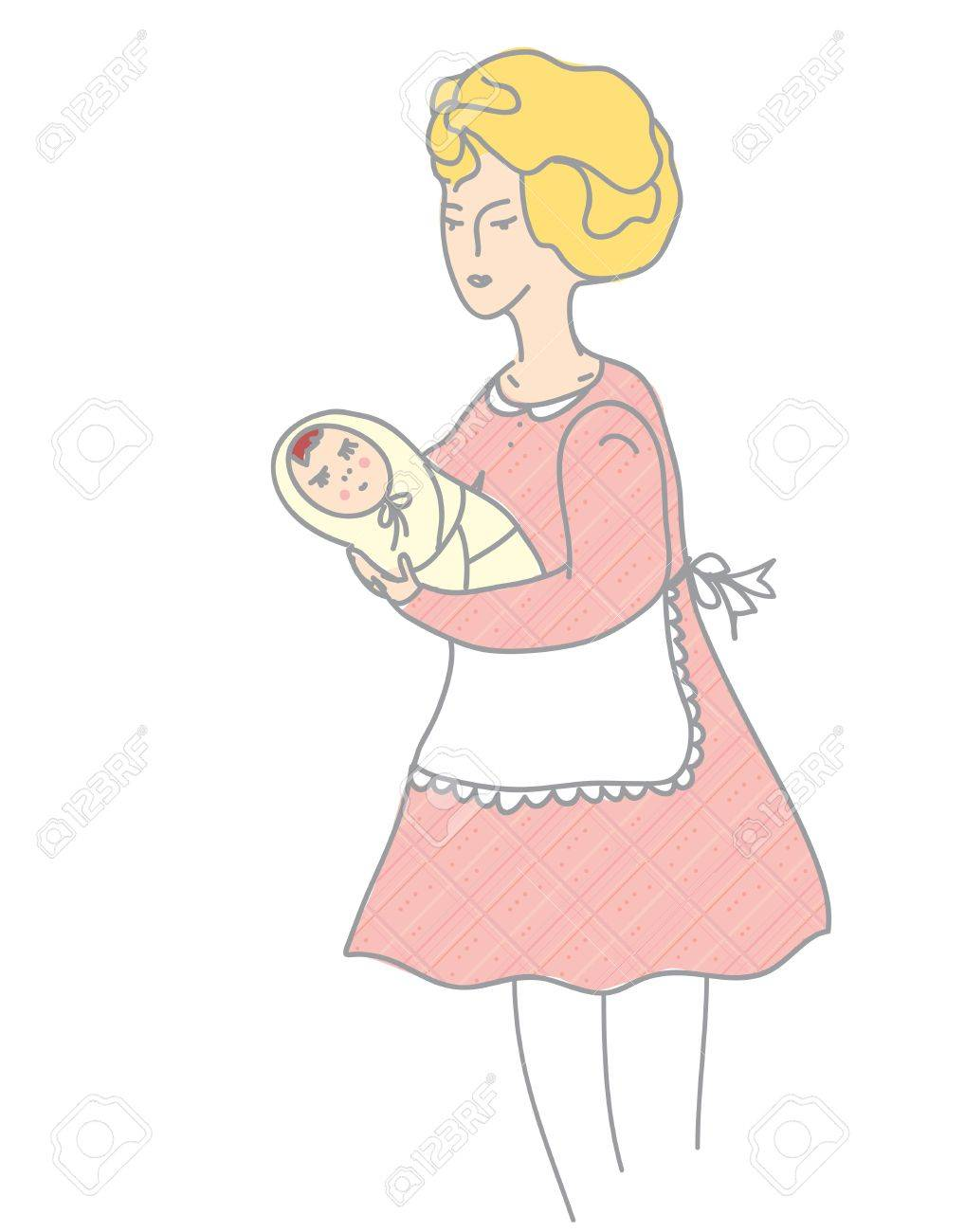 Mother and baby retro style illustration Stock Vector - 17260501