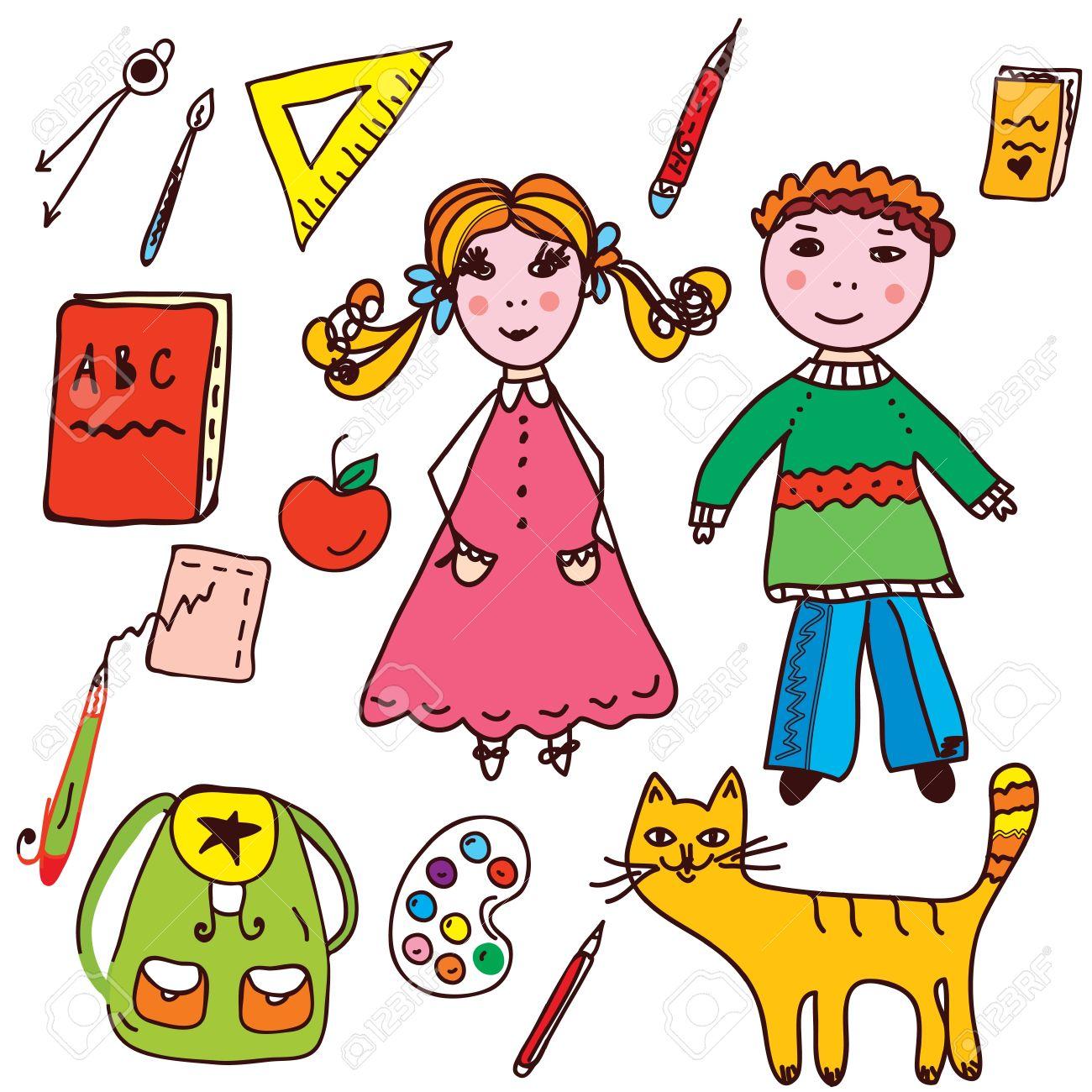 1db39d2a57857 Escuela conjunto - los niños y de los objetos divertidos iconos Foto de  archivo - 17477162