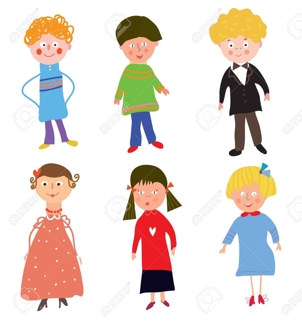 Funny children boys and girls cartoon Stock Vector - 17715916