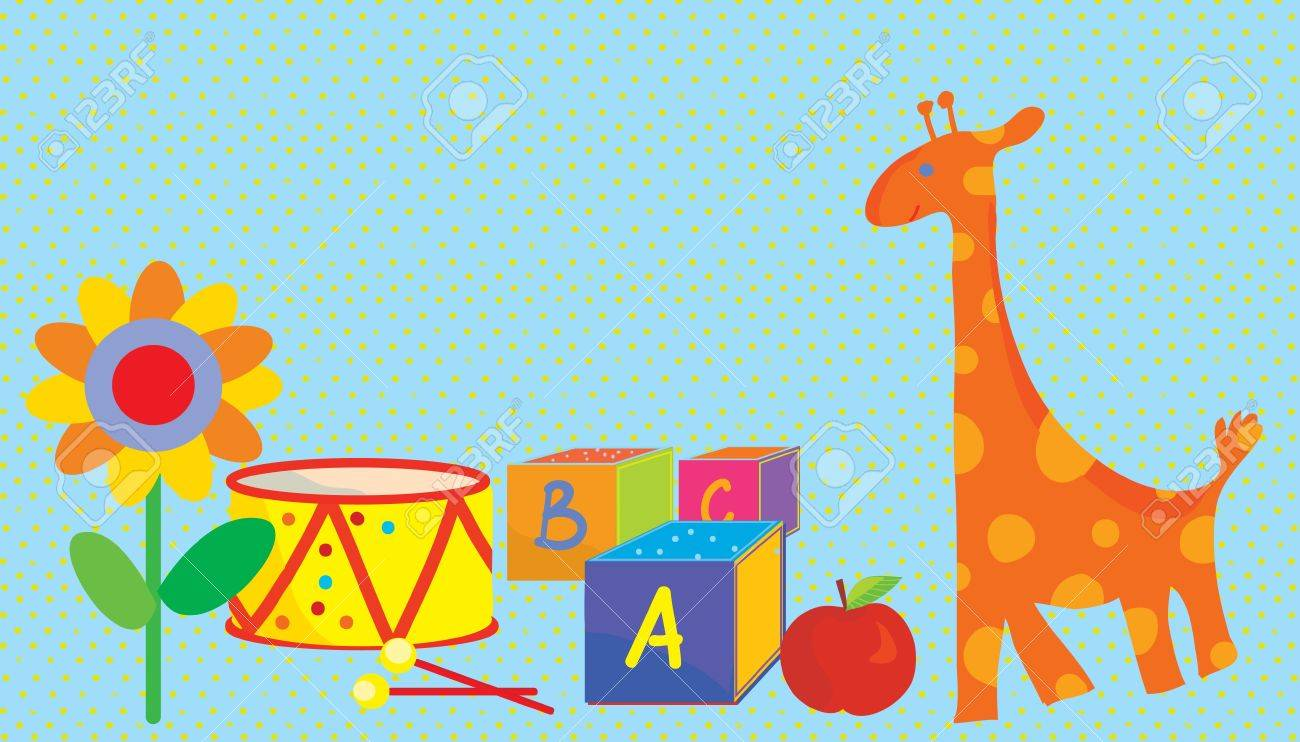 Baby background with toys, giraffe, flower Stock Vector - 17851203