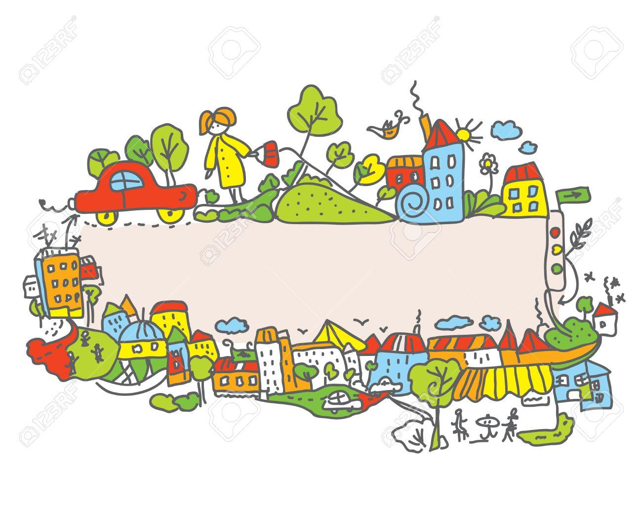City frame for children cartoon - 18094983