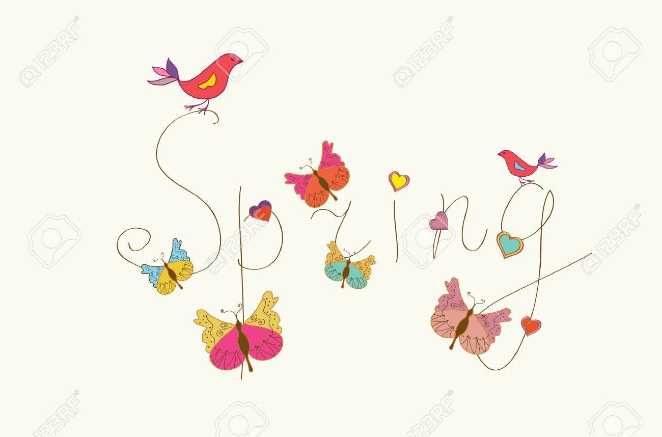 Spring word banner with butterflies and birds - 18094975