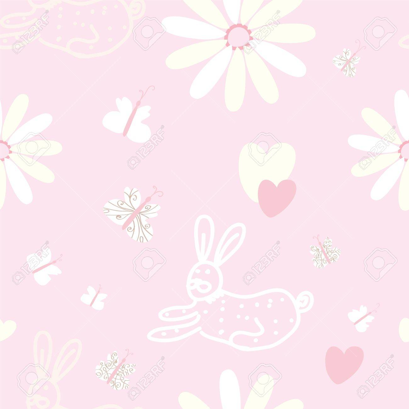 Baby Seamless Pink Pattern With Rabbit And Butterfly Royalty Free Cliparts Vectors And Stock Illustration Image 19290675