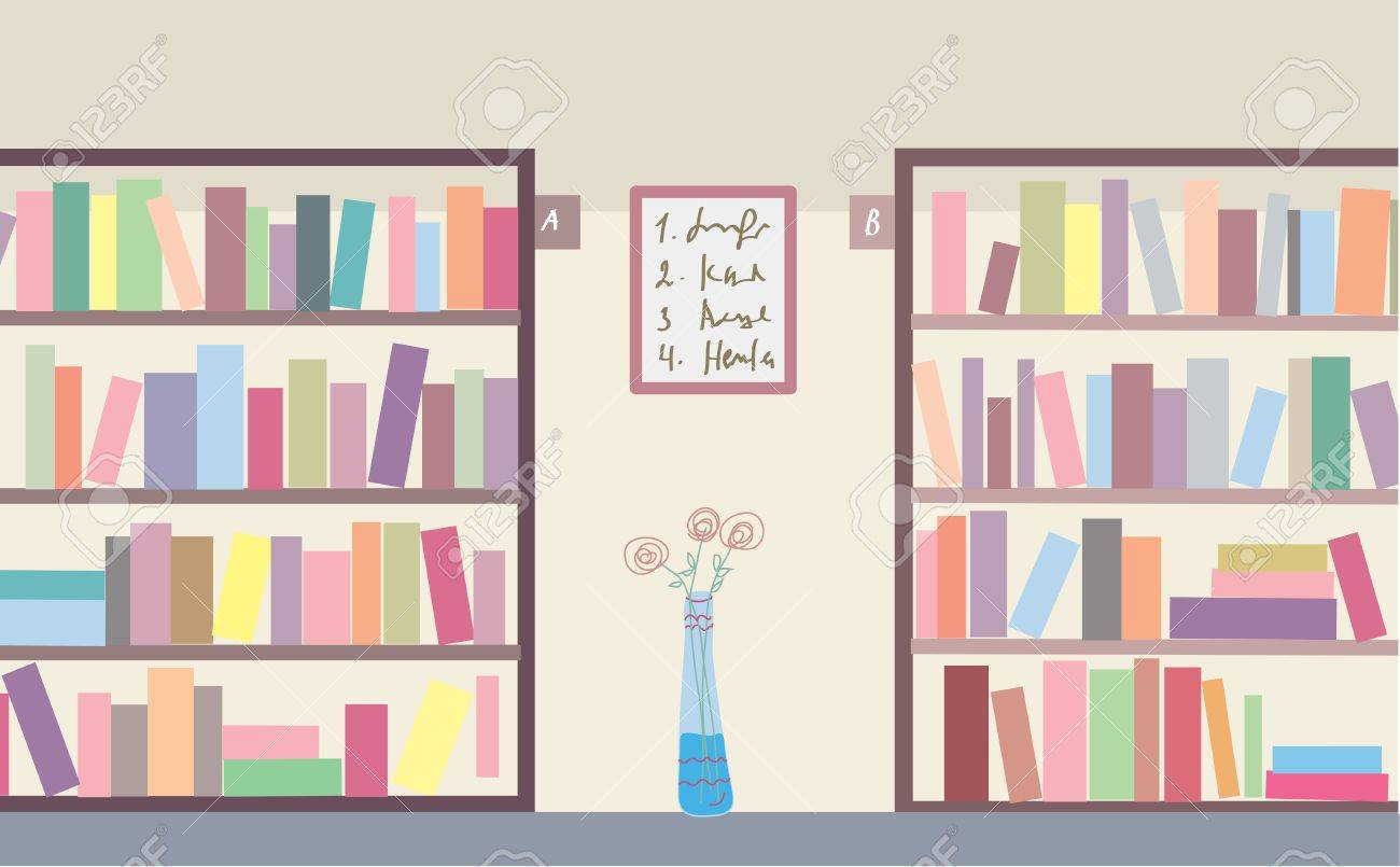 Library with bookshelves interior - 19290674
