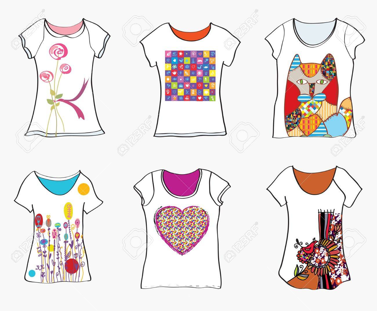 T Shirts Design Templates With Funny Paintings And Patterns Stock Vector