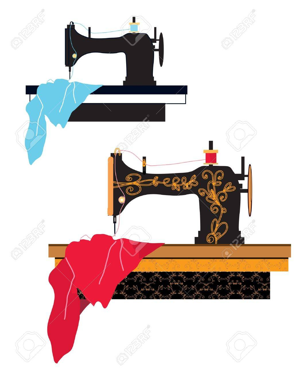 Sewing machine silhouette and design with pattern - 20881995