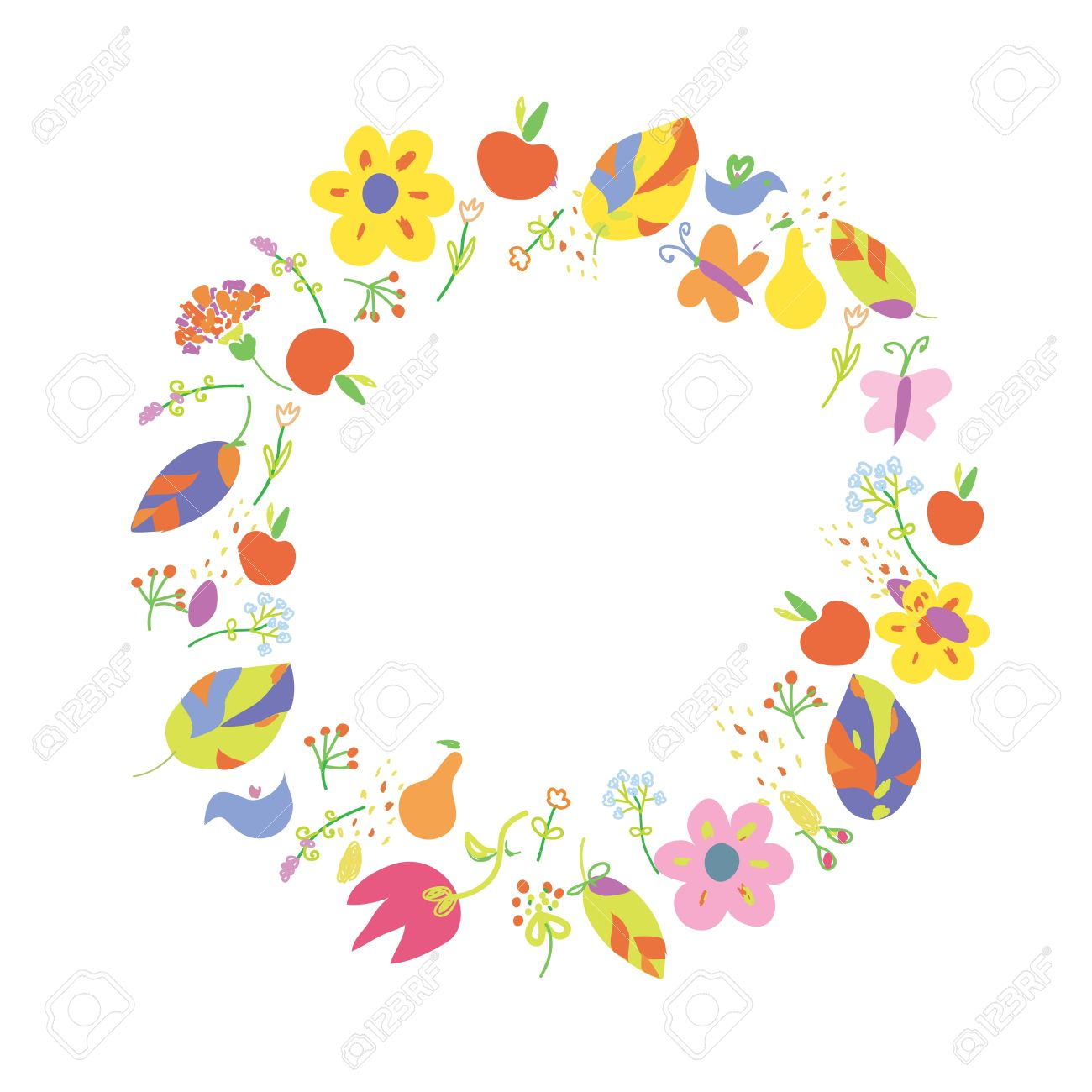 Autumn abstract frame circle with fruits Stock Vector - 21024844