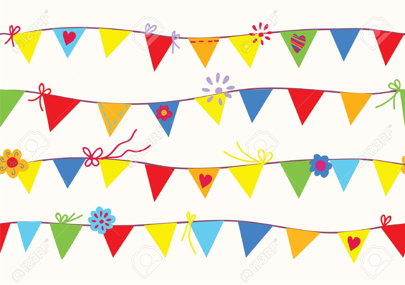 Bunting flags seamless pattern funny design - 22552818