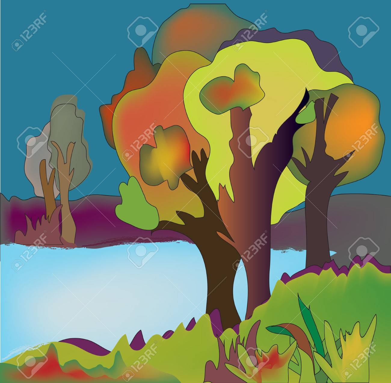 Autumn lake background with trees illustration Stock Vector - 22552825