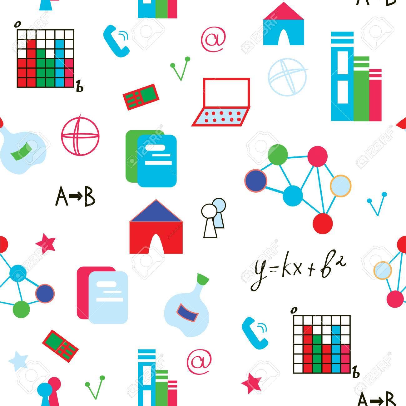Science Symbols Seamless Pattern Funny Design