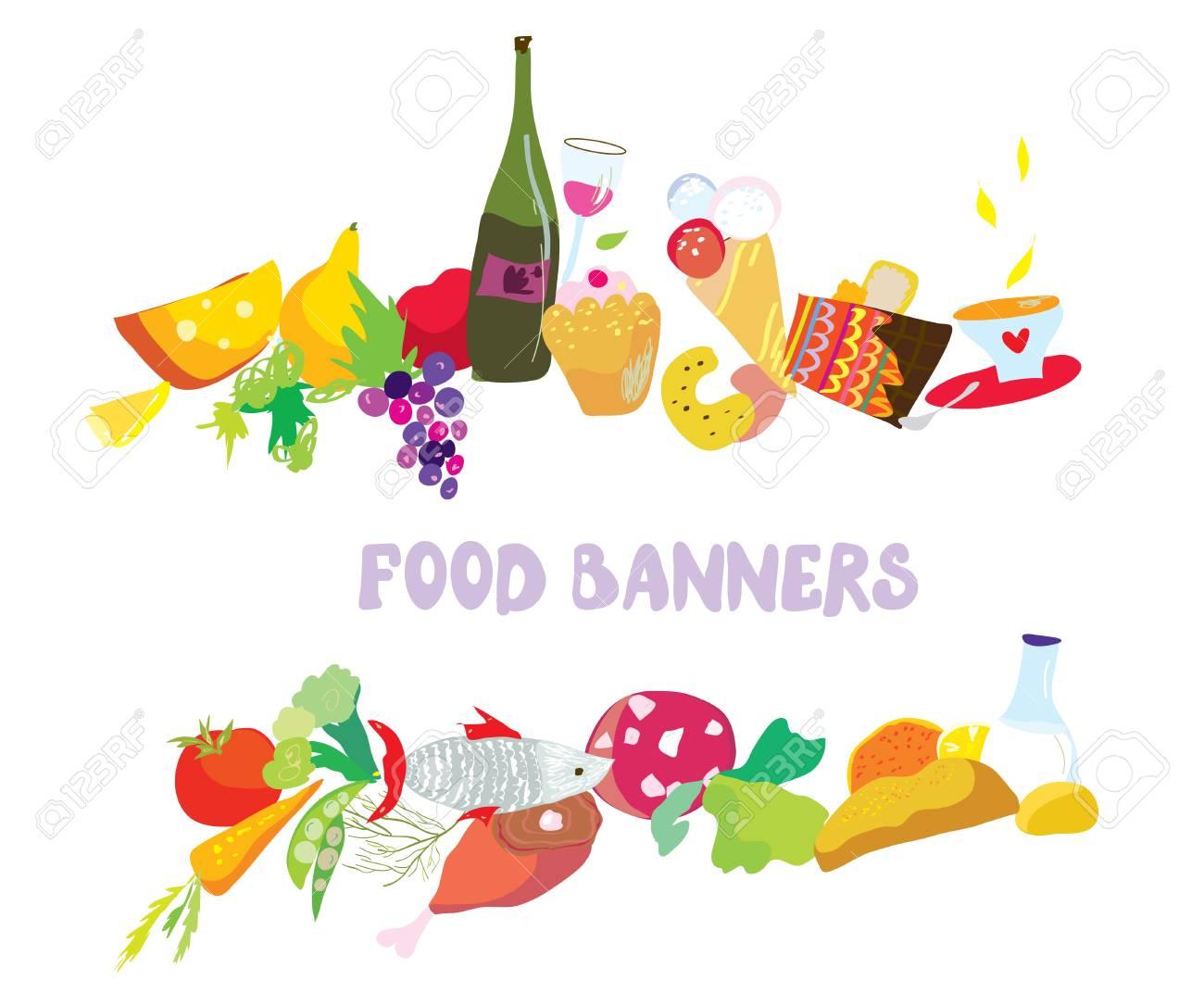 Food banners set cartoon design Stock Vector - 24915930