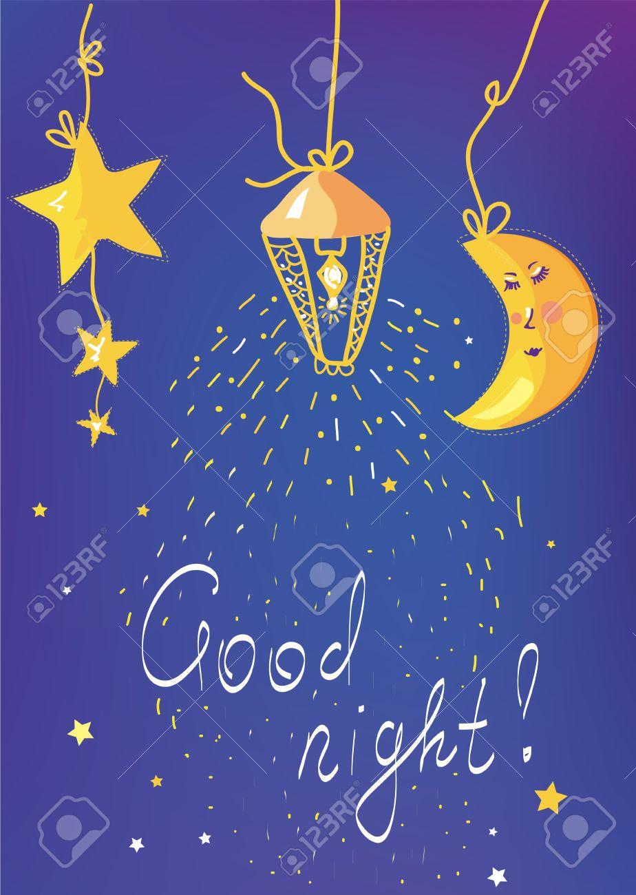 Gute Nacht Banner Und Karte Fur Kinder Lizenzfrei Nutzbare