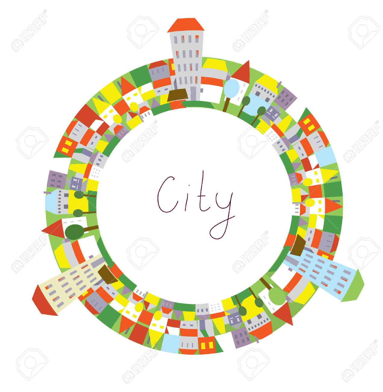 cartoon of city circle frame with funny houses for kids royalty