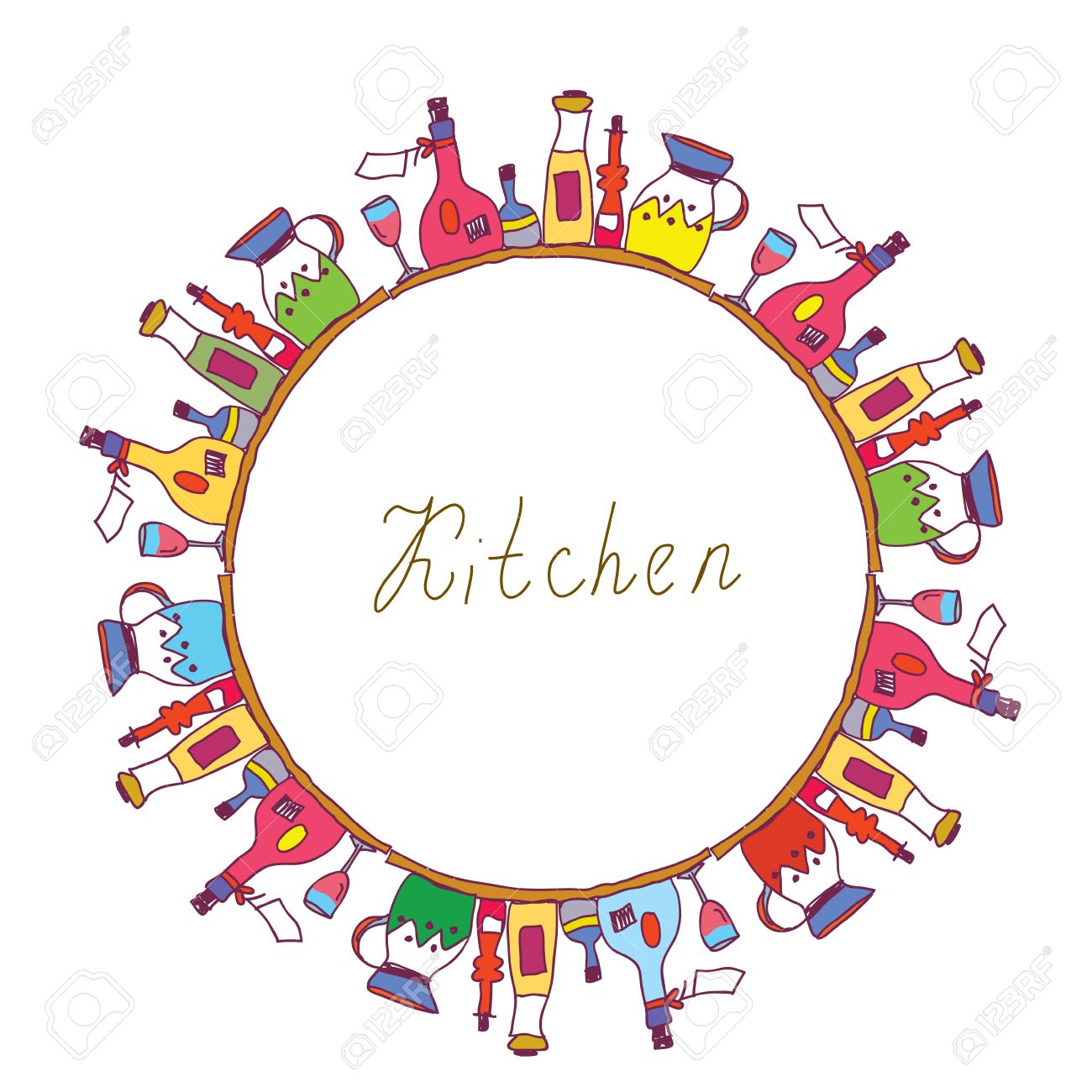 Küche Rahmen Mit Töpfen, Flaschen,, Kochen Instrumente Lizenzfrei ...