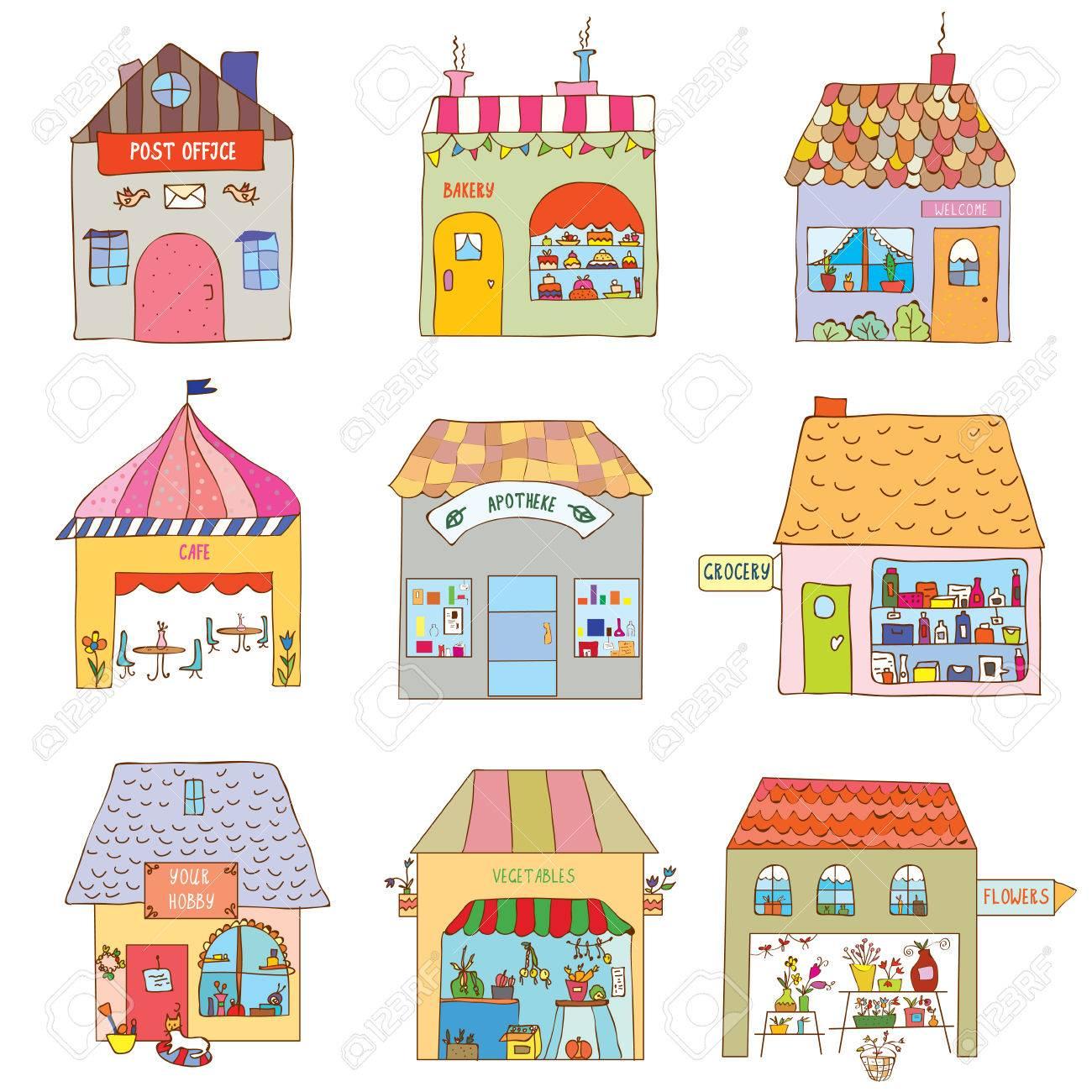 casas del pueblo divertido set empresas y oficinas de la ilustracin foto de archivo