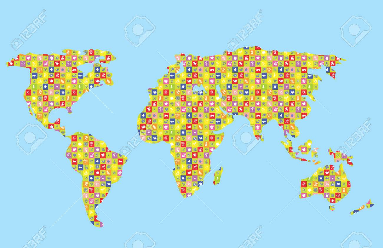Funny World Map For Kids With Pattern Royalty Free Cliparts Vectors