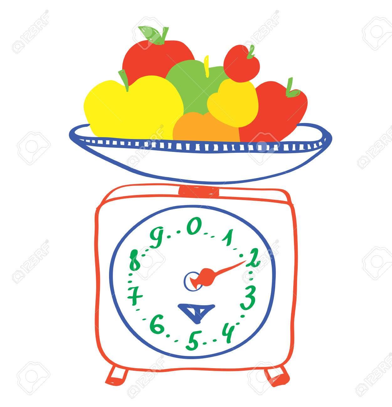 La Alimentación Saludable Escalas Con Las Manzanas De Dibujos