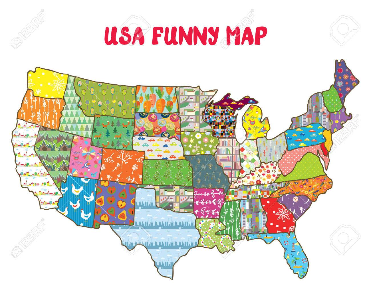 Funny United States Map.United States Funny Map With Patterns Design For Kids Royalty Free
