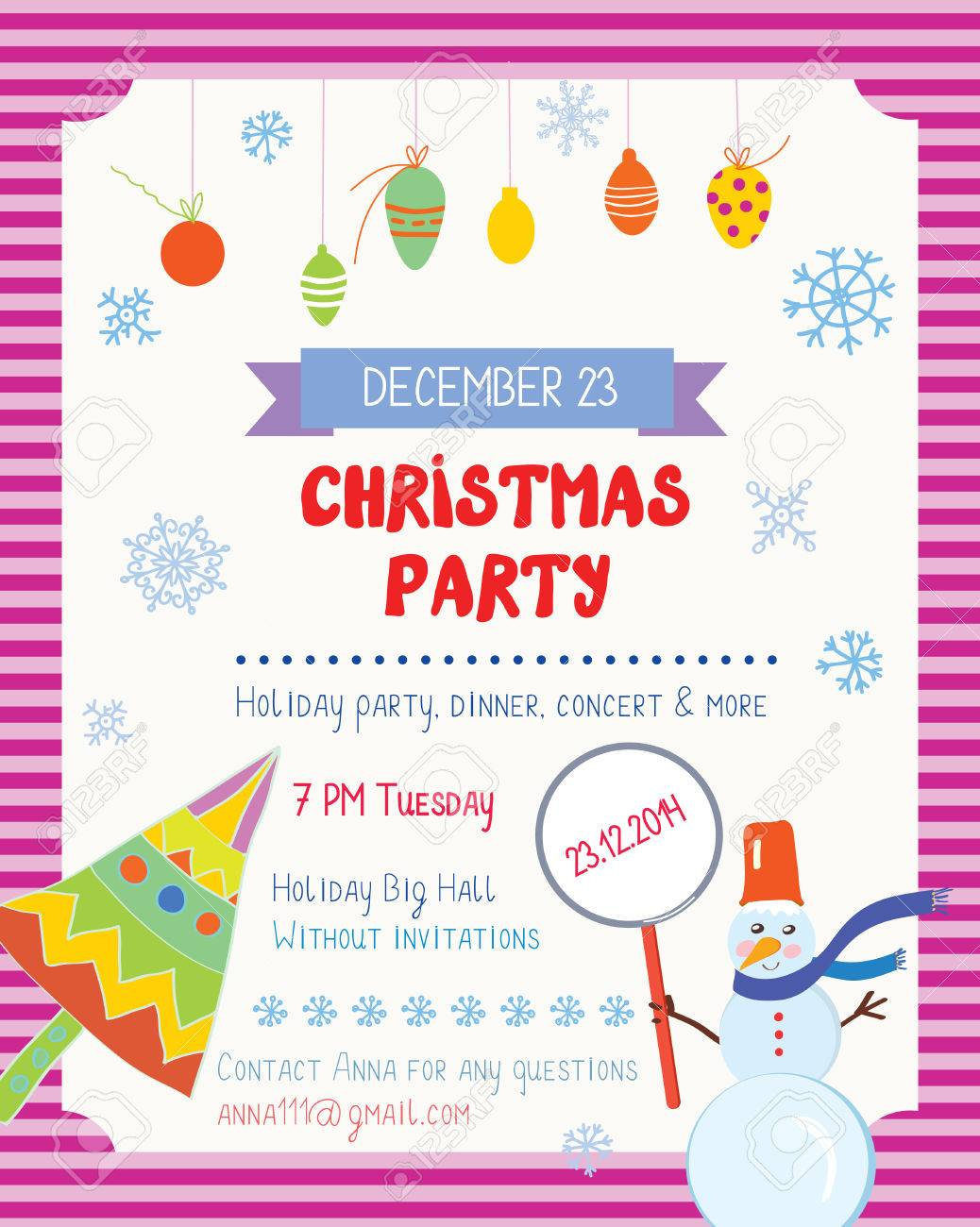 Christmas Party Funny Poster With Decorations And Text Template ...