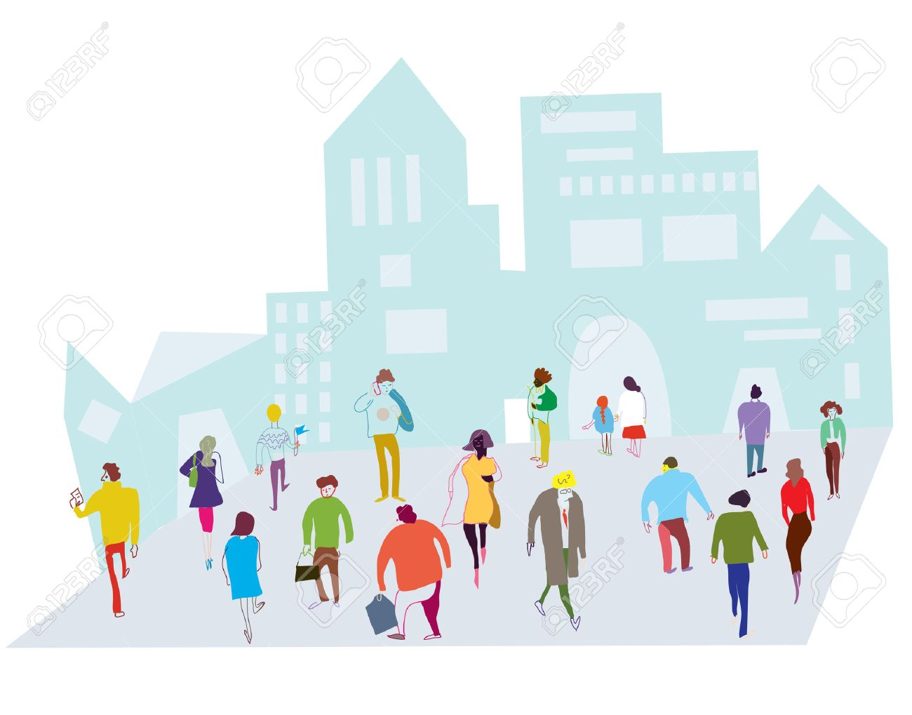 People in the city illustration - crowd on the street - 35552278