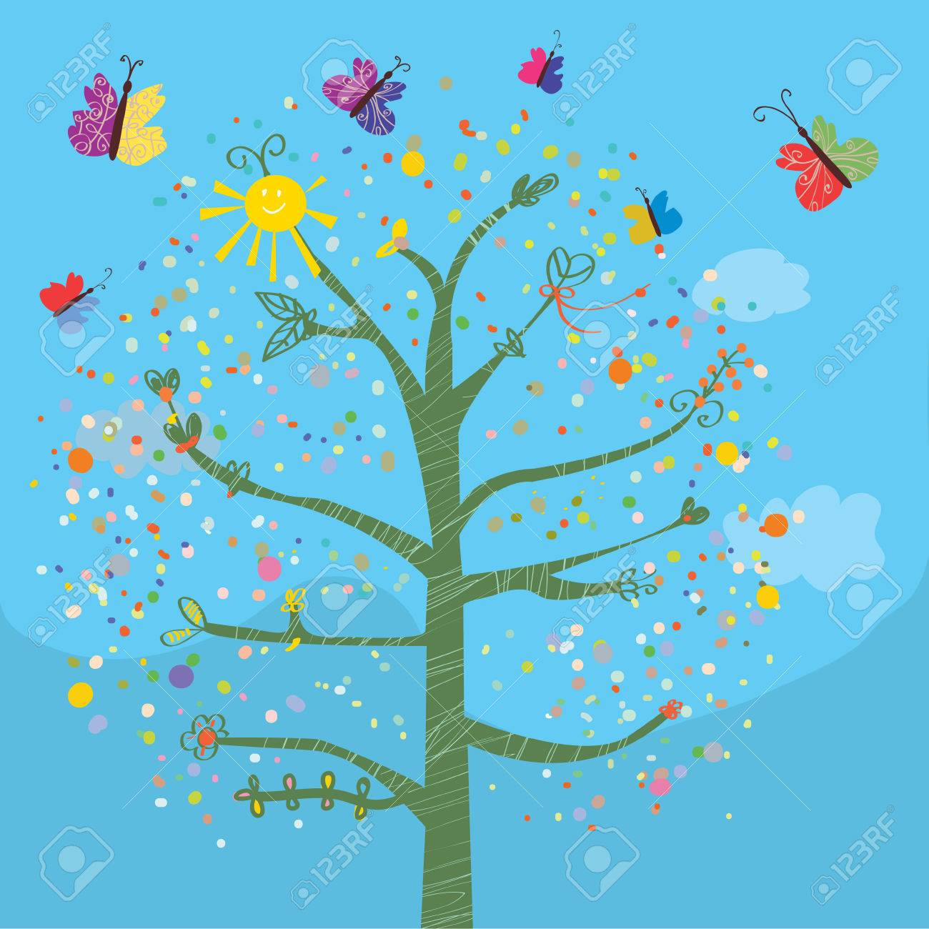 funny card with tree and butterflies for kids royalty free