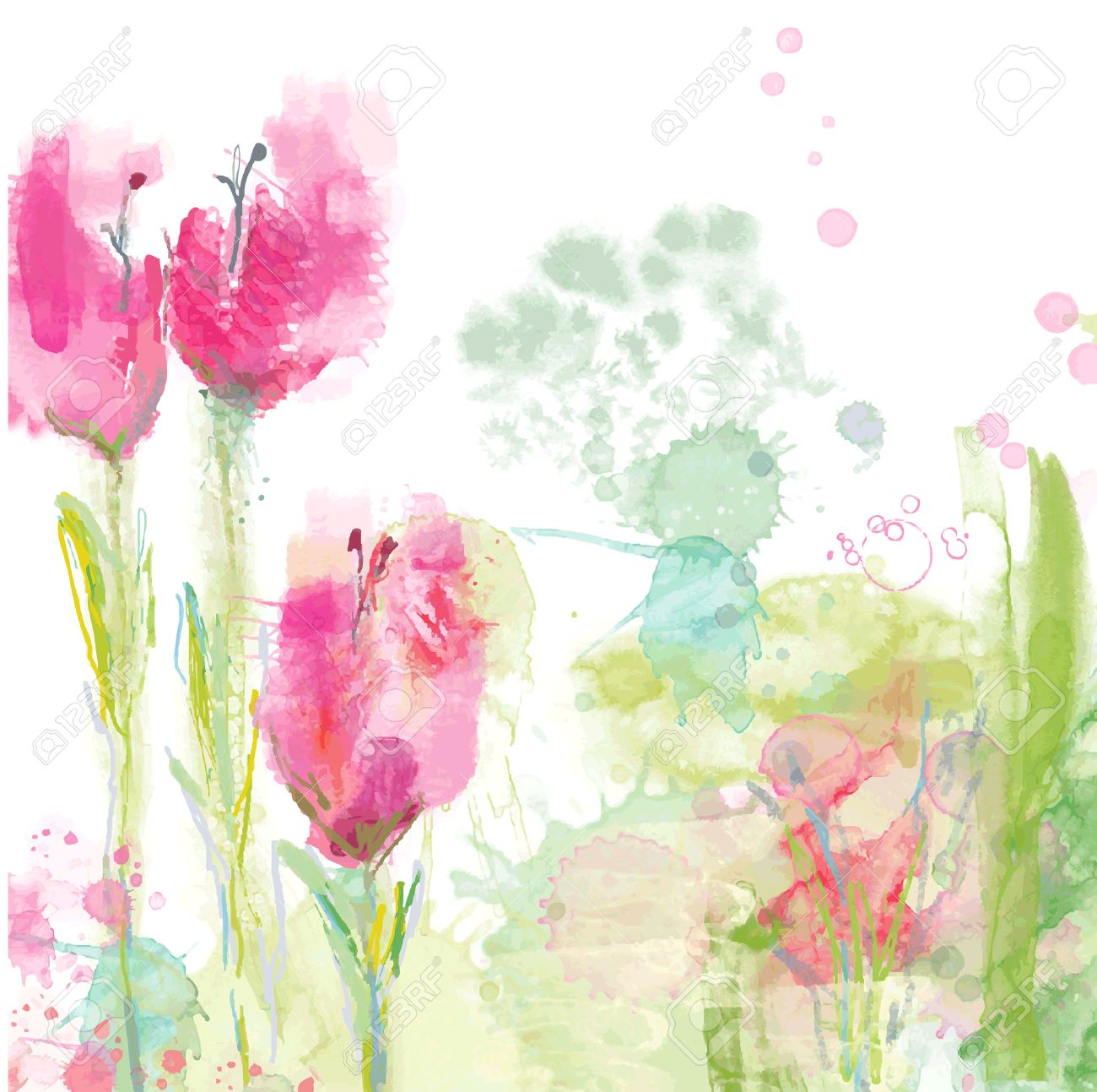Tulips floral background - watercolor style - 37200898