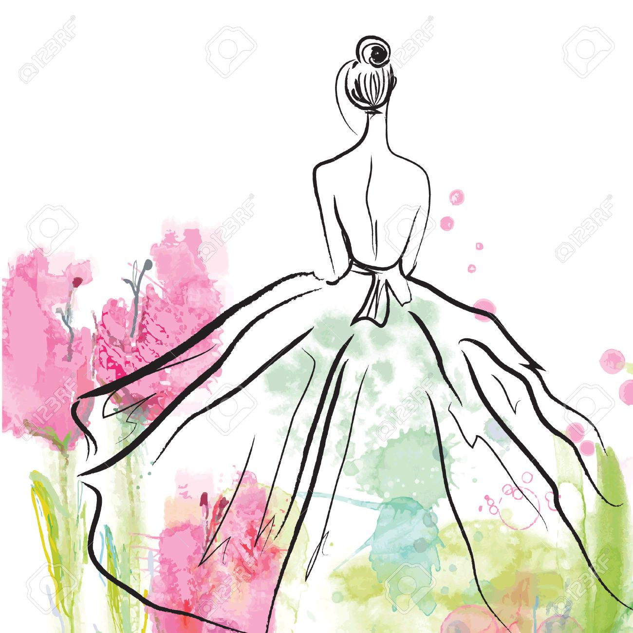 Fashion girl in beautiful dress - sketch on the floral background - 37453490