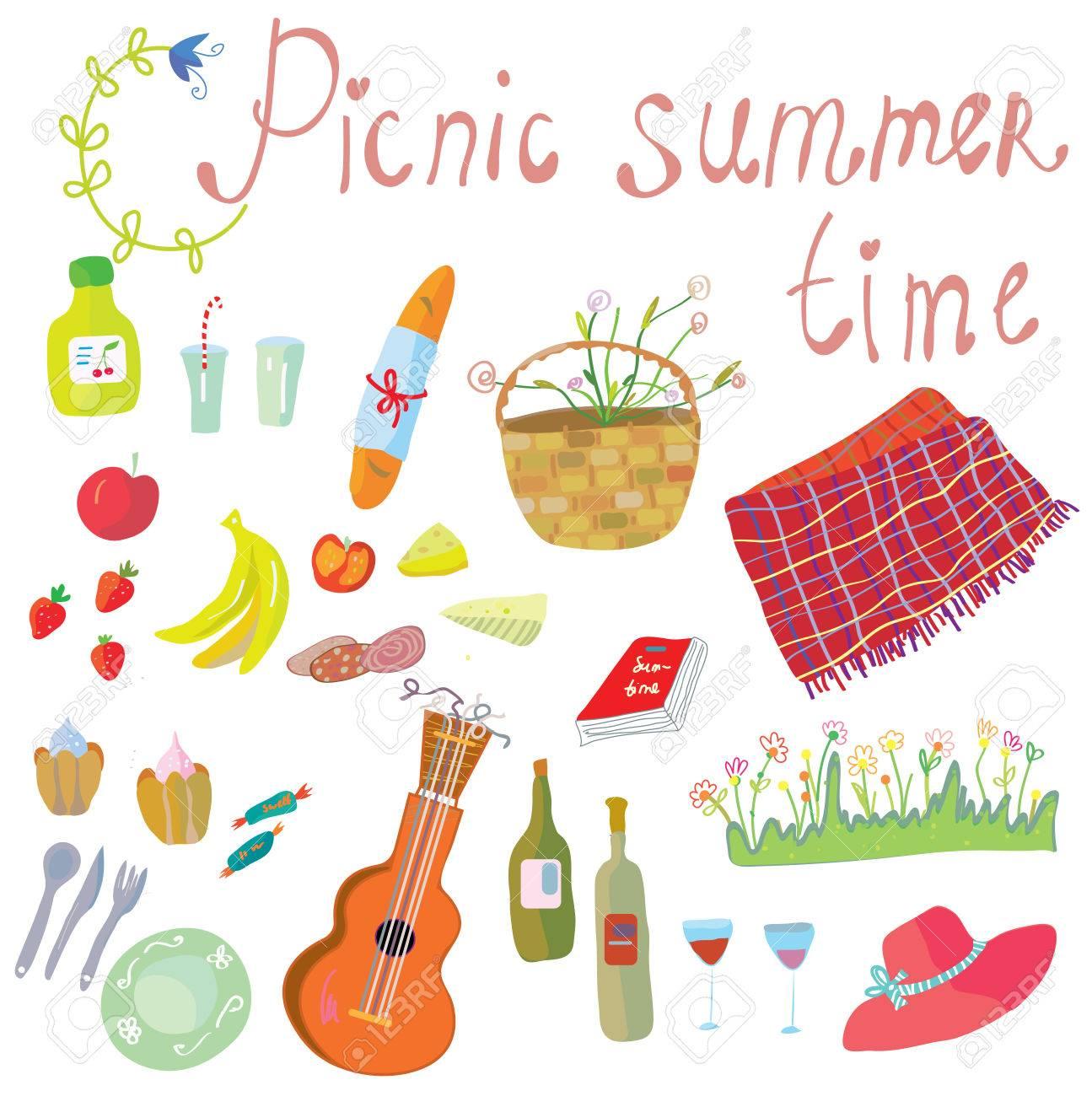ロマンチックな夏の日のかわいいイラストのピクニック オブジェクトの
