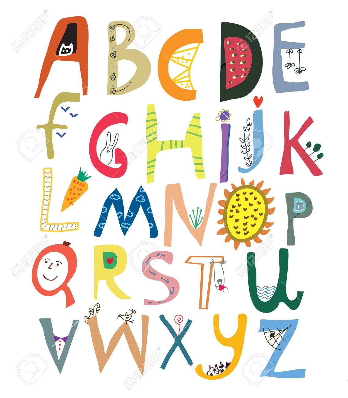 Funny alphabet for kids with faces, vegetables, flowers and animals - vector illustration - 47417202